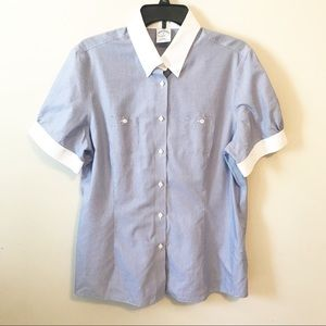 Brooks Brothers Pinstripe Button Down Top Sz 16